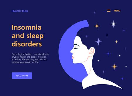 Profile of a girl and a starry sky. Insomnia and sleep disorder. Healthy lifestyle website template. Landing page. Vector flat illustration Banque d'images - 131955280