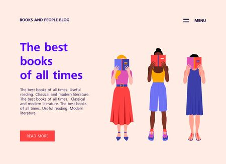 A group of women of different nations are Website template about books and education. Landing page about reading. Vector flat illustration