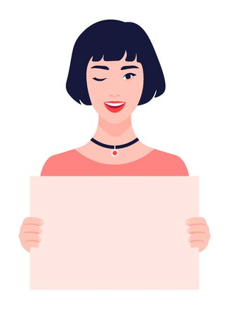 Asian girl holds Winking young woman on a white background. Feminism and womens rights. A student is protesting. Vector illustration in flat style Ilustracja