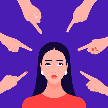 Hands of people point to the girl. Portrait of a non-confident woman. Opinion and the pressure of society. Shame. Vector flat illustration