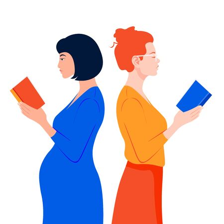 Two women stand in profile and read books. Girls of different nations hold books in their hands. Literary club. Vector flat illustration