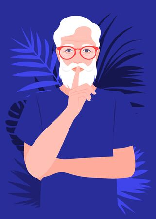 An elderly man Secret information. Portrait of a strict and serious grandfather. Vector flat illustration