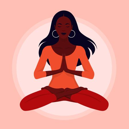 A young woman levitates. Yoga and relaxation. Girl sitting in lotus position with her eyes closed. Vector flat illustration