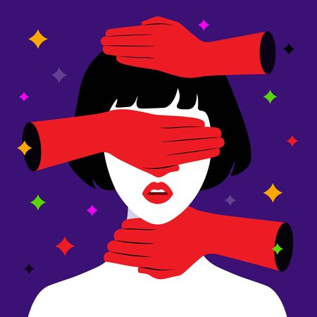 Domestic violence. Hand that is stifling. Vector flat illustration