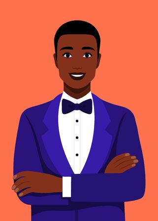Young smiling businessman in tuxedo and bow-tie with arms crossed. Portrait of a successful african in a suit. Vector flat illustration Illusztráció