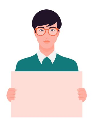 An Asian guy is holding a poster. Young man in glasses holds a broadsheet. A student is protesting. Vector flat illustration