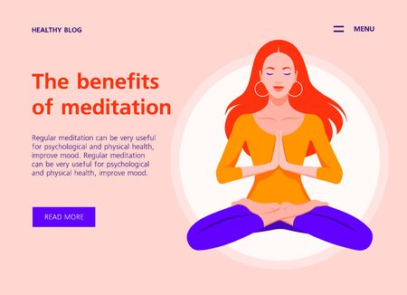 Red-haired girl levitates in the lotus position. Meditation and yoga. Website template and landing page. Vector flat illustration