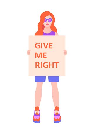 A student is holding a poster with text. Fight for human rights and equality. The girl in full growth. Demonstration. Vector illustration in flat style.