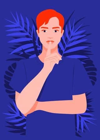 A young man put a finger to his lips. Secret information. Portrait of a strict and serious guy. Vector flat illustration