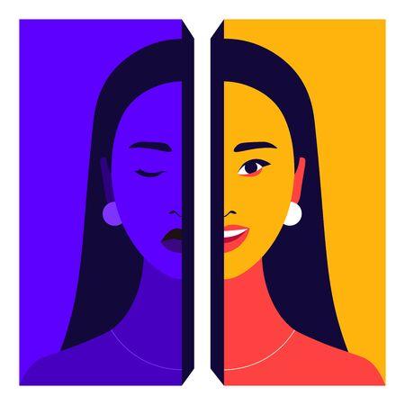 Porträt einer jungen Frau mit bipolarer Störung. Glücklicher und depressiver Mensch. Psychische Gesundheit. Helle flache Vektorgrafik