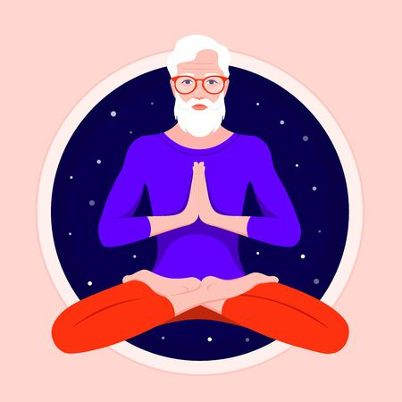 An elderly man with a beard sits in a lotus position and meditates. Grandfather practices yoga and levitates against the background of the night starry sky. Vector flat illustration Иллюстрация
