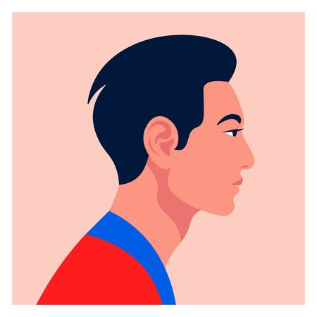 Male face in profile. Asian guys head side view. Avatar for a social network. Vector flat illustration