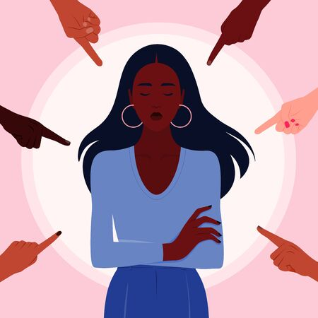 Shame. Hands of people of different nations point to the girl. Portrait of an African woman. Alien opinion and the pressure of society. Vector flat illustration Stock Illustratie