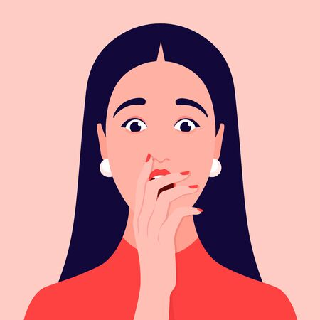 Portrait of a surprised woman. Face of shocked girl with hand over open mouth. Avatar Vector flat illustration