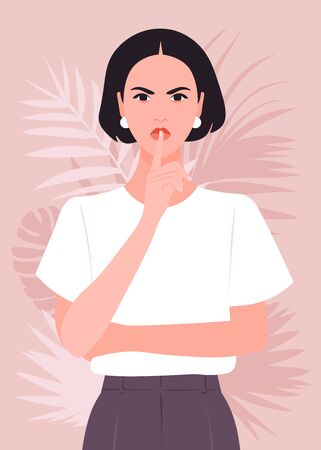 A young woman put a finger to her lips. Secret information. Portrait of a strict and serious girl. Vector flat illustration