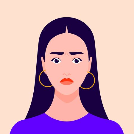 Portrait of a nervous girl. Excited female face. Avatar Shock and stress. Vector flat illustration