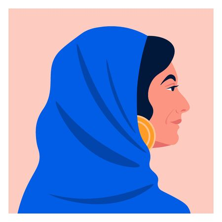 Profile of a muslim woman in a headscarf. Avatar of an Arab lady. Vector flat illustration Ilustrace
