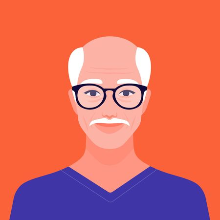 Portrait of a happy elderly man. Avatar of a smile grandfather. Vector flat illustration