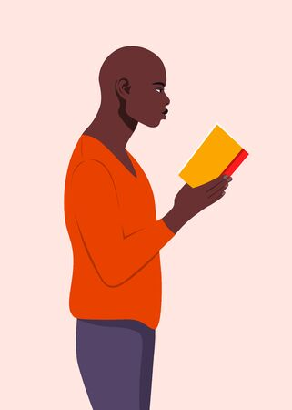 An African man stands in profile and holds a book in his hands. Guy reading a book. Student in the university library. Vector flat illustration
