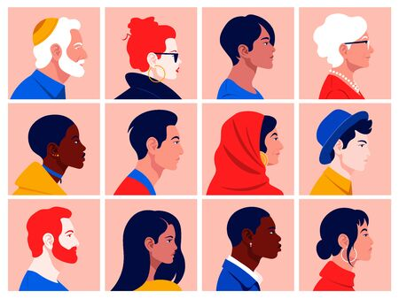 A set of peoples faces in profile: men, women, young and elderly of different races and nations. Diversity. Avatars Vector flat illustration Иллюстрация