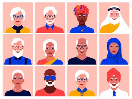 Set of avatars of elderly men and women of different nationalities and races. Diversity. Multinationality. Portraits of grandparents. Vector flat illustration Иллюстрация