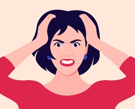 Portrait of a woman in stress. The girl holds her head in her hands and screams. Pain. Anger and despair. Vector flat illustration