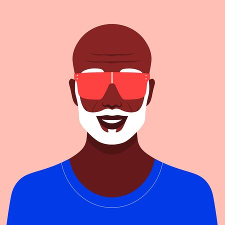 Portrait of an old African man. Stylish grandfather avatar in sunglasses and with a beard. Vector flat illustration