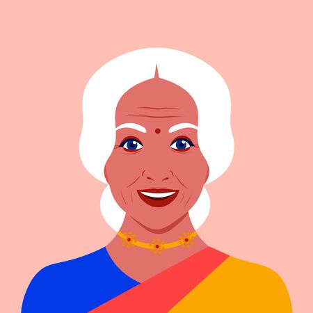 Portrait of an elderly Indian woman in a sari. Female face. Avatar for social networks. Grandmothers head. Vector flat illustration