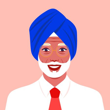 Portrait of an old Hindu man. The head of a Sikh with a beard in a turban. Portrait businessman. Avatar for social networks. Vector flat illustration