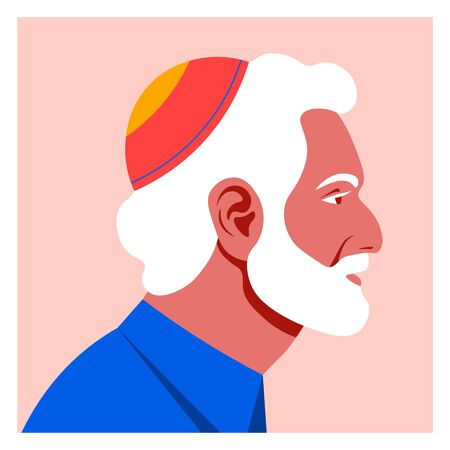 Profile of an old jew man. The face of the grandfather is on the side. Avatar Vector Flat Illustration