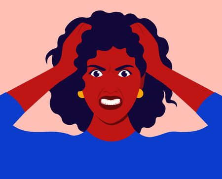 Portrait of an African woman in stress. The girl holds her head in her hands and screams. Pain. Anger and despair. Vector flat illustration 일러스트