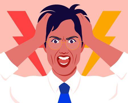 Retrato de un hombre en estrés. El empresario tiene la cabeza entre las manos y grita. Dolor. Ira y desesperación. Ilustración vectorial plana Ilustración de vector