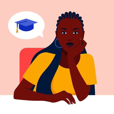 An African girl sits at a table and dreams of studying at the university. Vector flat illustration