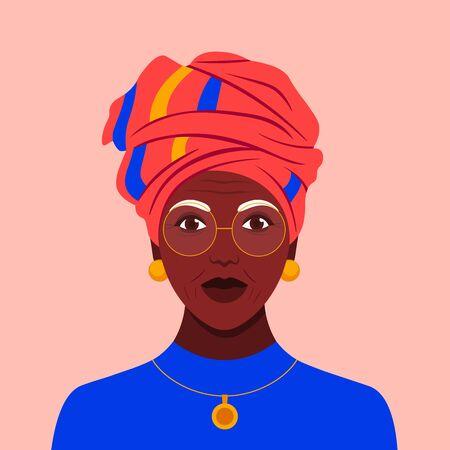 Portrait of an old African woman in a headdress. Stylish grandmother avatar. Vector flat illustration Illustration