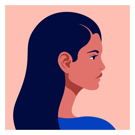 Latin American head in profile. Hispanic woman. Races and nationalities of the world. Vector flat illustration Ilustração