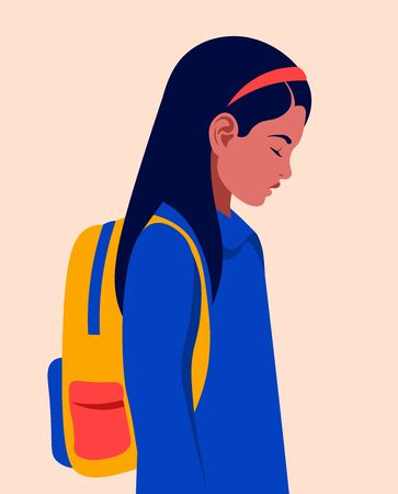 Profile of a sad schoolgirl with a backpack. Tired child after lessons. Vector flat illustration