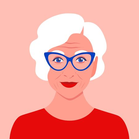 Portrait of an old woman with eyeglasses. Avatar fashionable pensioner. Happy old age. Vector flat illustration Иллюстрация