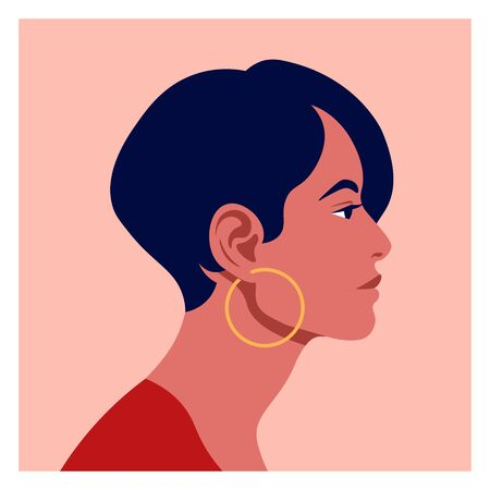 Latin American head in profile. Hispanic woman. Races and nationalities of the world. Vector flat illustration Ilustracja