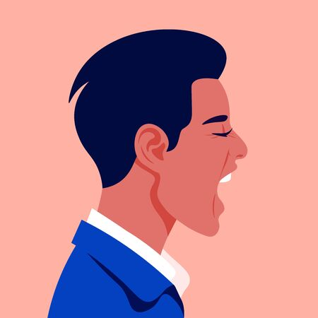Screaming mans face in profile. Head of a guy in stress on the side. Aggression and irritation. Vector flat illustration Иллюстрация