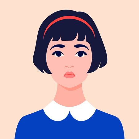 Portrait of a sad girl. Schoolgirl avatar. Face of a child. An orphan. Vector flat illustration
