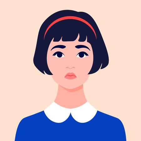 Portrait of a sad girl. Schoolgirl avatar. Face of a child. An orphan. Vector flat illustration