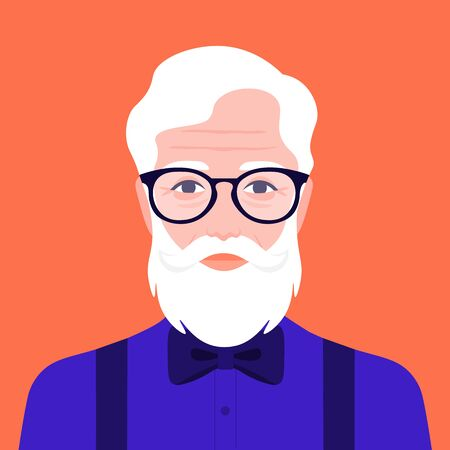Portrait of an old hipster man with a bow tie. Avatar fashion grandfather. Vector illustration in flat style