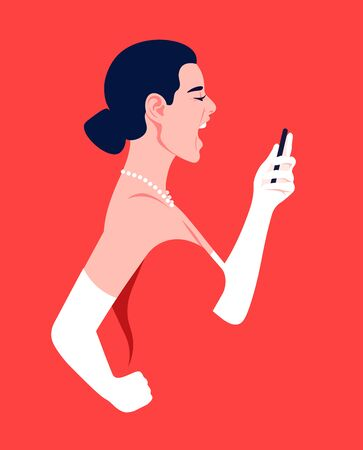 A woman in profile holds a smartphone in her hands and screams. Girl in evening dress on a red background. Hysterics, aggression and stress. Vector flat illustration