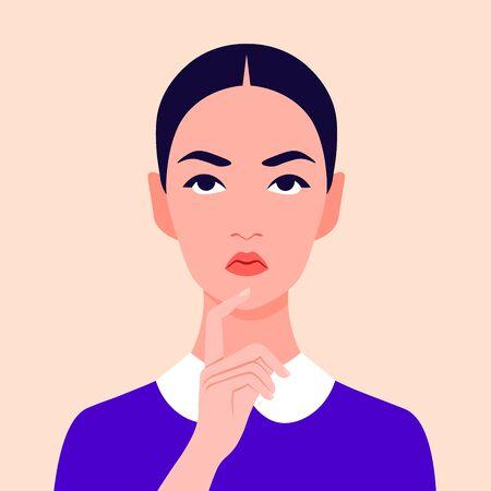 Portrait of a pensive girl. Avatar of a serious schoolgirl. Teenager Vector flat illustration Vector Illustration