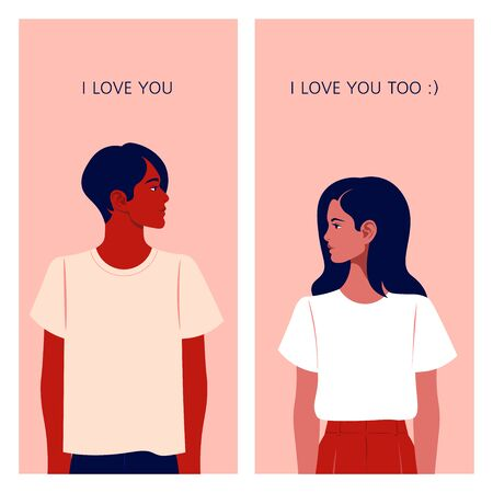 The girl and the guy are looking at each other. Love correspondence. Communication and dating on the Internet. Date Vector flat illustration