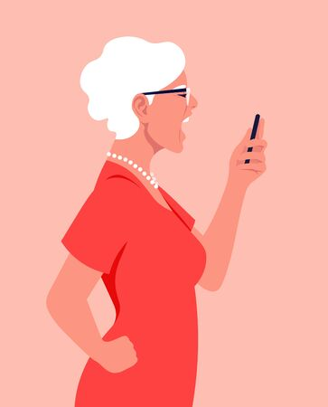An old woman in profile holds a smartphone in her hands and screams. Angry grandmother. Hysterics, aggression and stress. Vector flat illustration