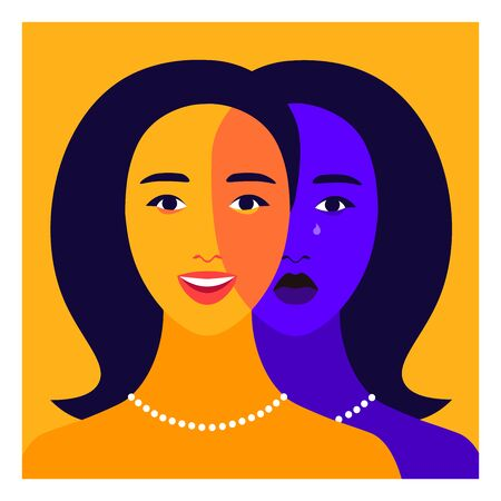 Portrait of a young woman with bipolar disorder. Happy and depressed faces. Mental health. Bright vector flat illustration  イラスト・ベクター素材