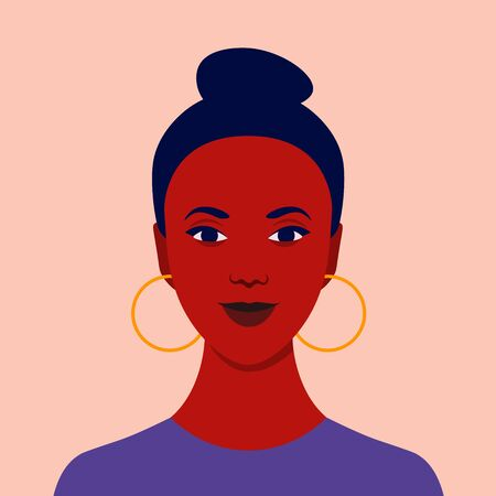 Portrait of a happy African girl. Diversity. Avatar Nations and races. Vector flat illustration