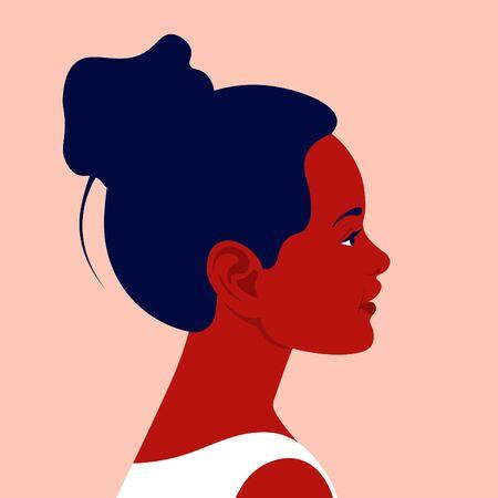 Tête d'une petite fille africaine de profil. Le visage d'un enfant heureux sur le côté. Portrait. Illustration plate de vecteur d'avatar