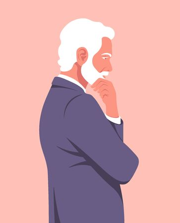 Portrait of a pensive man in profile. An elderly businessman is meditating. Problems in business. Vector flat illustration